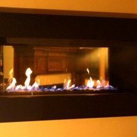 A close up of our HZ42ST see-thru contemporary fireplace from Regency.
