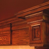 Close up of mantel surrounding the Renaissance Rumford. We offer mantels by local artisans, Collinswood, Fires of Tradition and Premier.