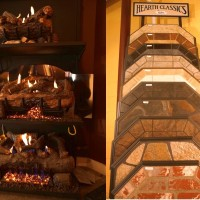 Left; Peterson gas log sets. Right; Stove mats and hearth extenders to add beautiful protection to your installation.