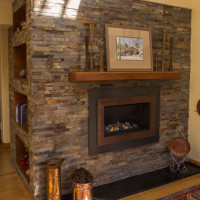 Valor H4 Gas Fireplace with Stone Surround, Soapstone Hearth and Mantel