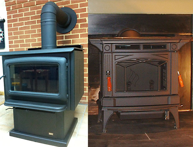 Wood stove in a thimble (right) and in a fireplace (left) - Preparing To Shop For Fireplaces At Wooden Sun In Charlottesville, VA