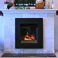 Valor Portrait Series Ledge Front Gas Fireplace, Tile Surround and Hearth