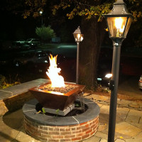 HPC Copper Bowl Gas Fire Pit with Water Scupper