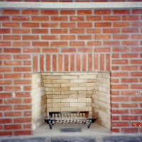 Typical brick, masonry fireplace
