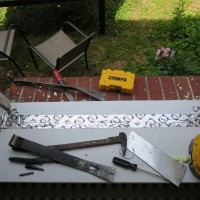 Tools of the trade, plus lead paint chips.