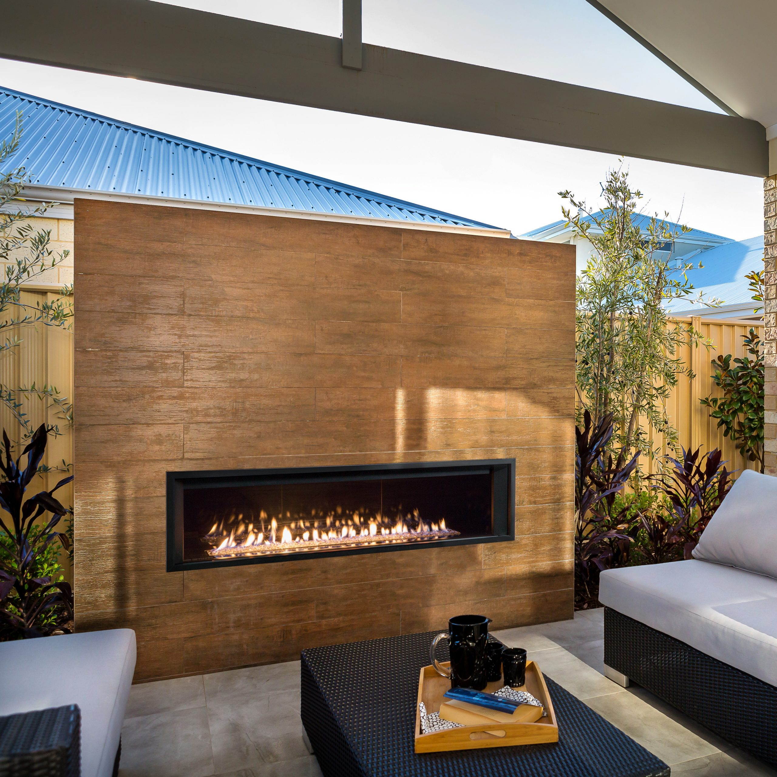 """L3 Linear Fireplace with Murano Glass, Reflective Glass Liner, 1"""" Surround, and Outdoor Conversion Kit"""
