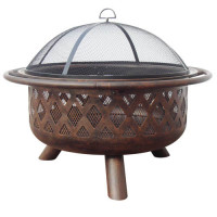 Oil-rubbed Bronze Firebowl with Lattice Design