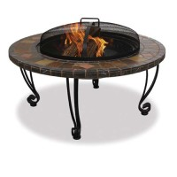 Firebowl with Slate Tile & Copper Accents